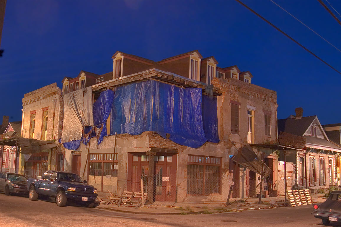 A ruin at a corner of Burgundy and Touro streets...at evening. New Orleans, Louisiana