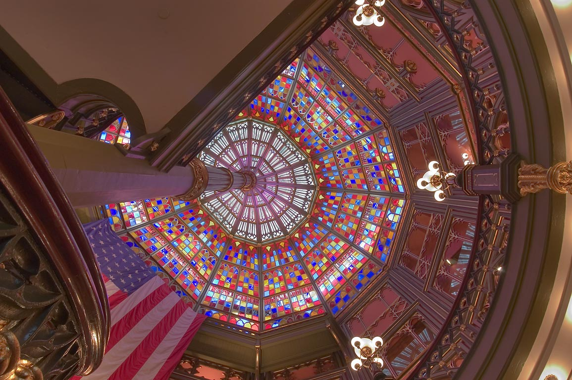 Ceiling glasswork supported by a center column in...State Capitol. Baton Rouge, Louisiana