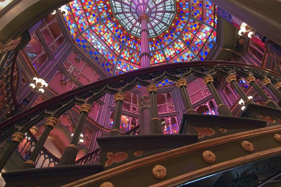 Cast iron staircase and stained glass dome in Old State Capitol. Baton Rouge, Louisiana