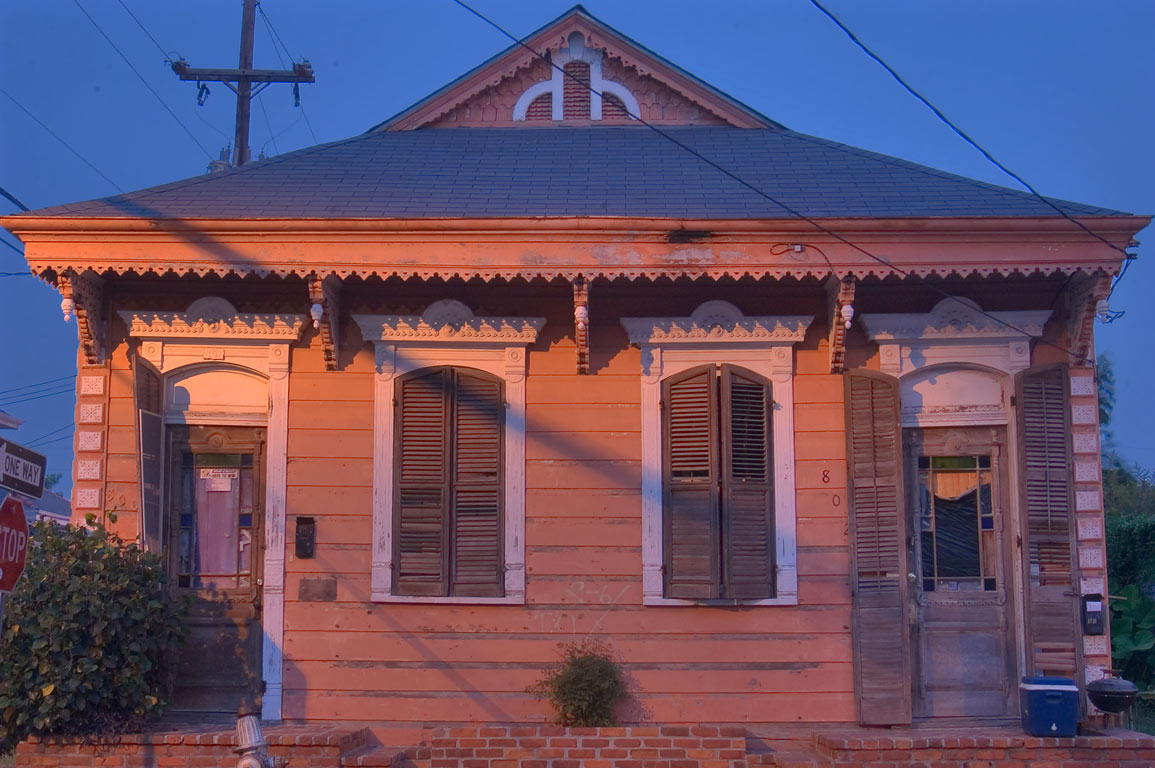 A cottage on Congress St., a corner of Dauphine...at morning. New Orleans, Louisiana