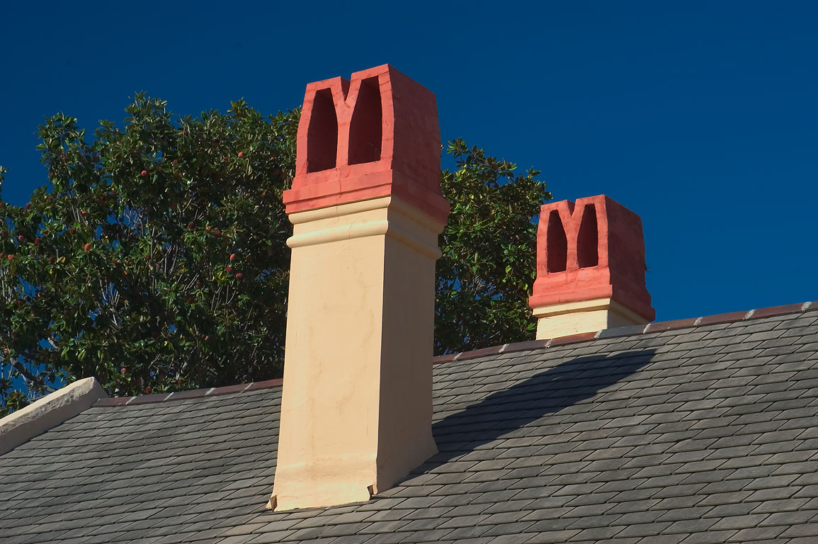 Chimneys on Dumaine St. near Chartres St. in French Quarter. New Orleans, Louisiana