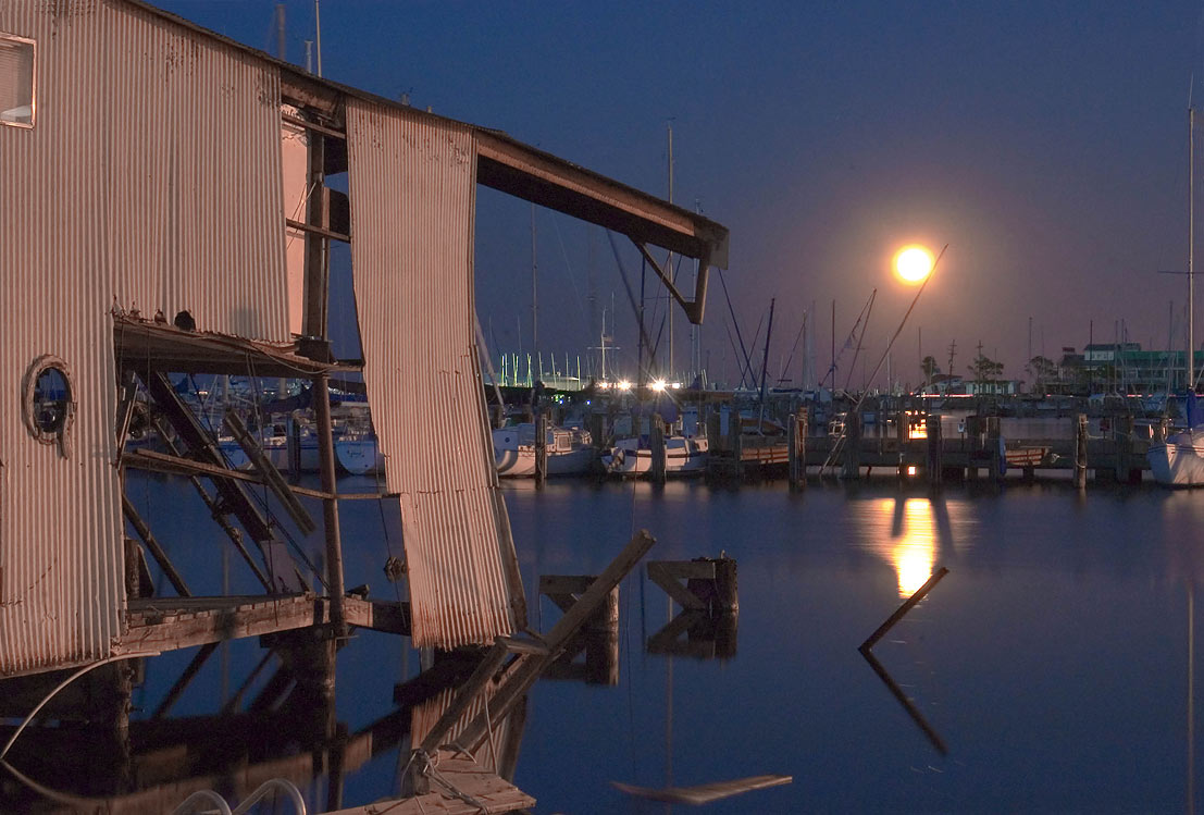City Yacht Harbor in West End at moonrise. New Orleans, Louisiana
