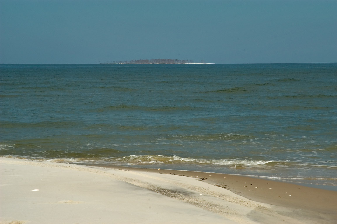 A cutting between West and East Ship Islands...visible on horizon. Mississippi