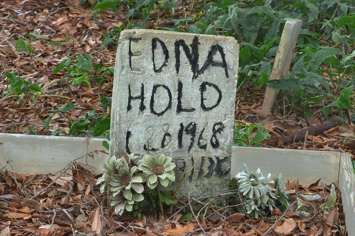 A tomb of Edna Hold in Holt Cemetery. New Orleans, Louisiana