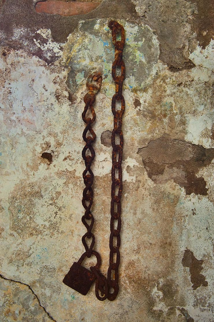 Iron chain in a crypt of Minerva Benevolent...Cemetery. New Orleans, Louisiana