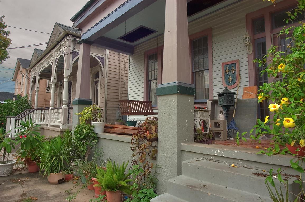 Houses at 222-228 Bermuda St., near Morgan St., in Algiers Point. New Orleans, Louisiana