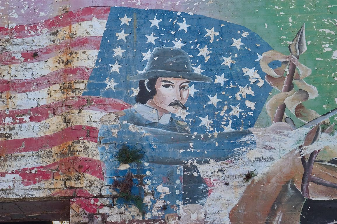 Civil War Union soldier on murals of prisoners on...Tulane Ave.. New Orleans, Louisiana