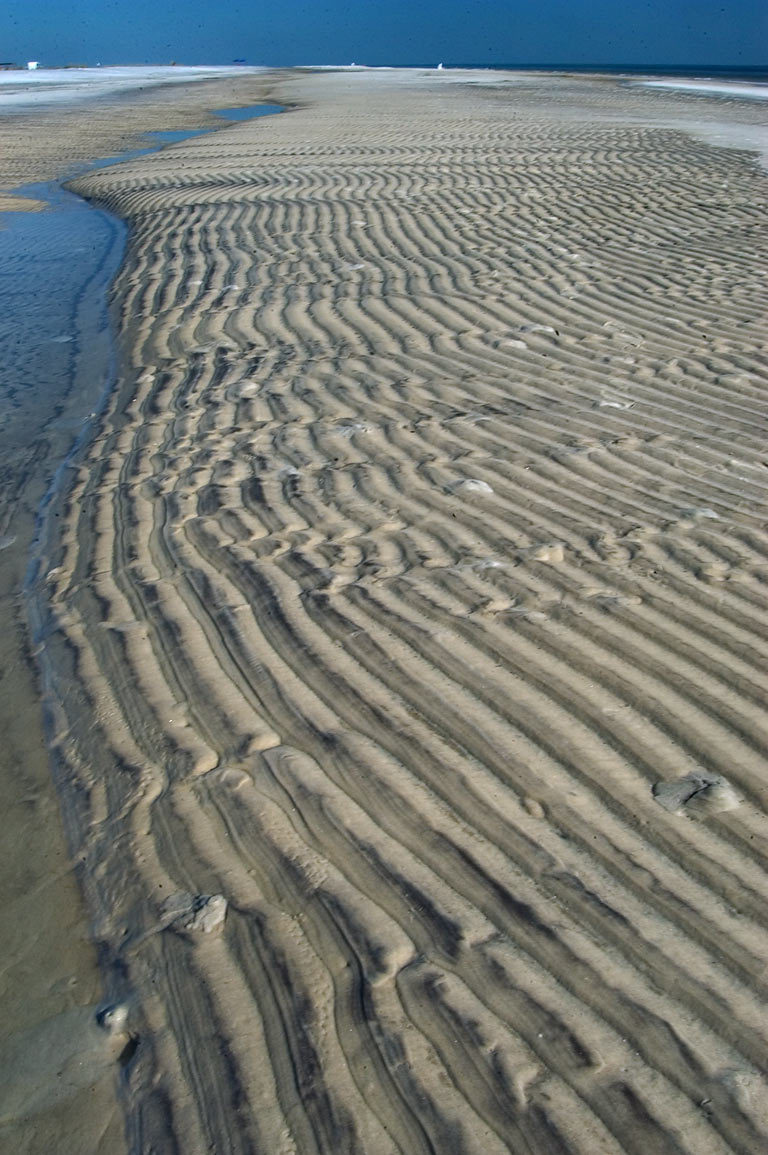 Sand ripples on a beach in Ship Island. Mississippi