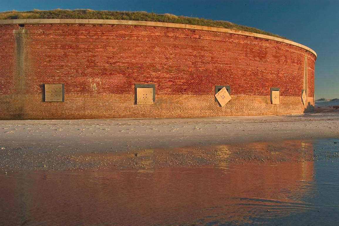 Quick-fixed Fort Massachusetts on Ship Island at sunset. Mississippi