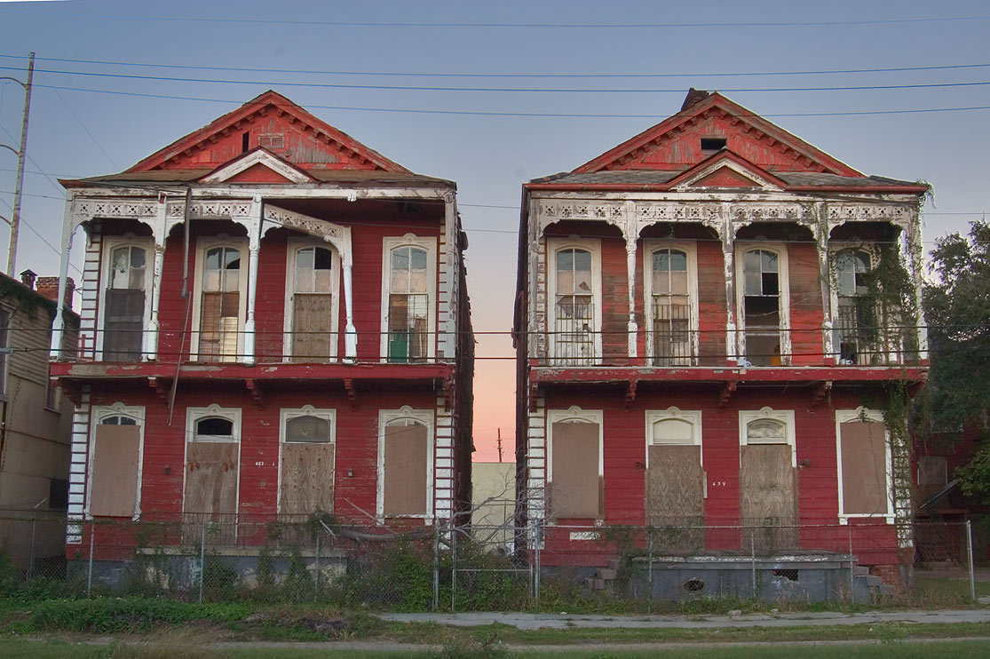 Decaying double gallery houses on Jackson Ave...District. New Orleans, Louisiana