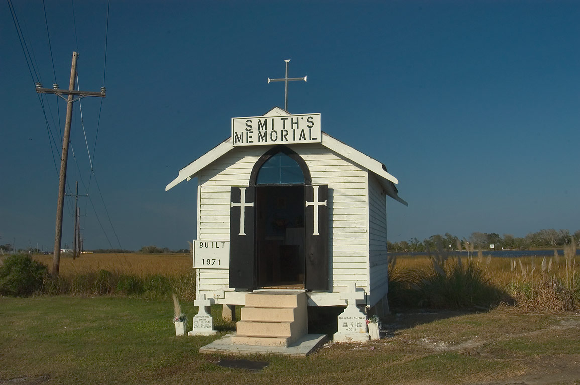 Smith's Memorial (1971) in a marsh near Leeville. Lafourche Parish, Louisiana