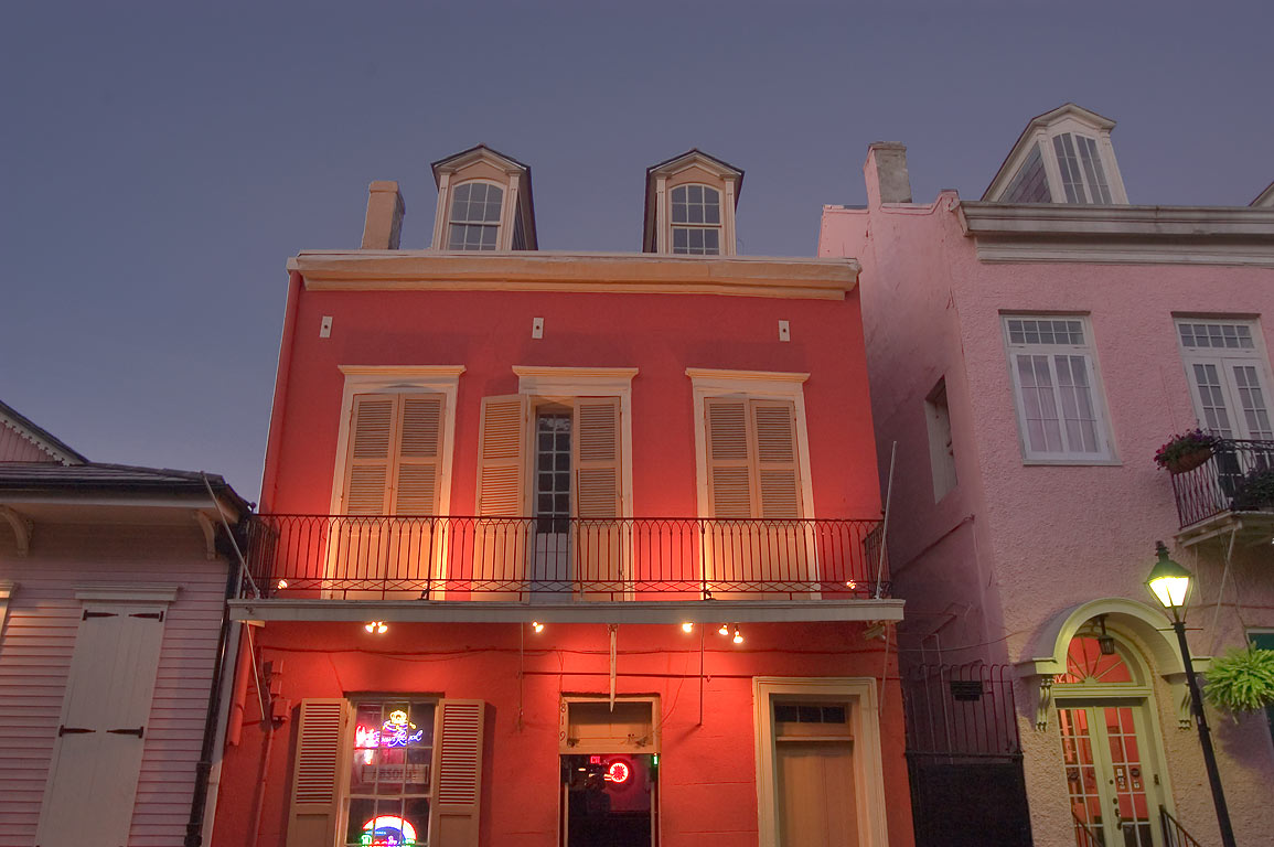 A red house at 819 St.Louis St. near Bourbon...French Quarter. New Orleans, Louisiana