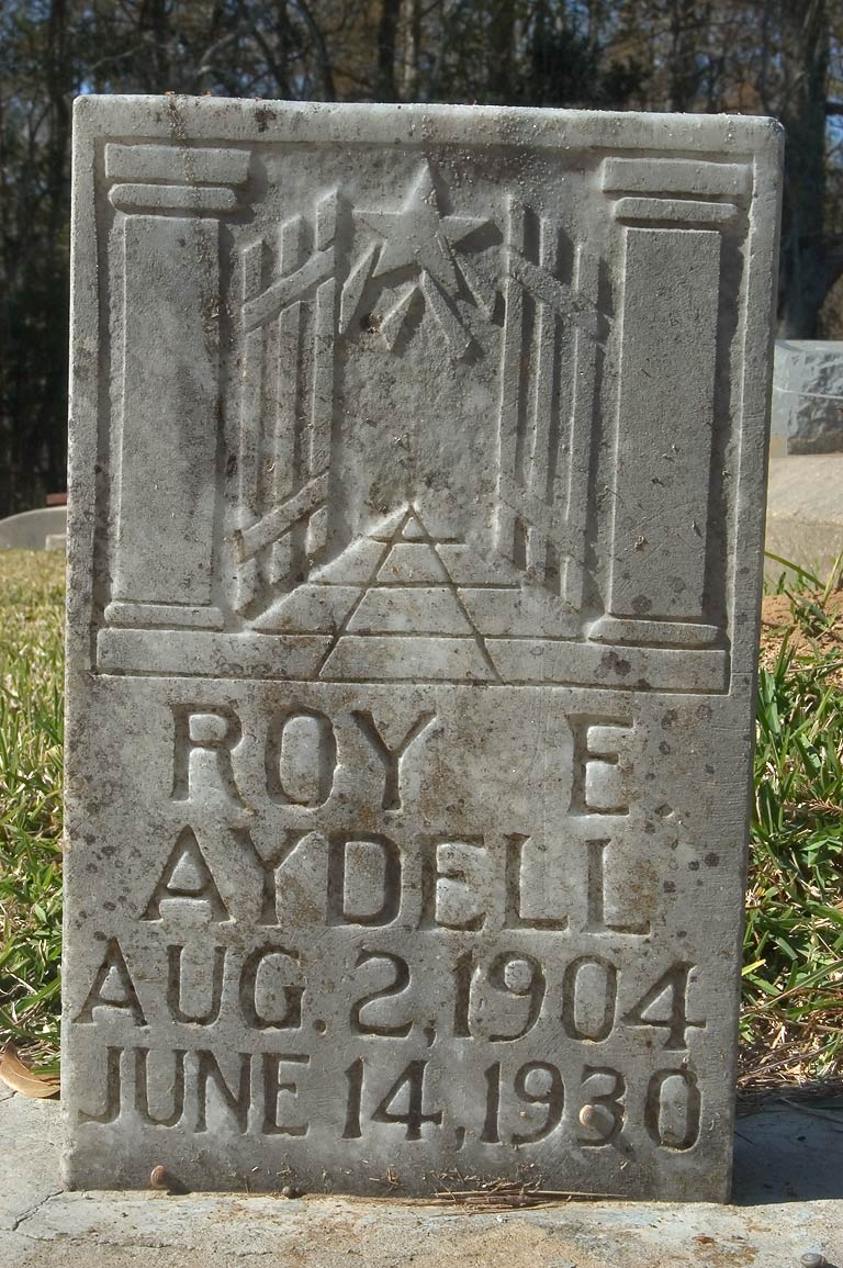 Art Deco tomb of Roe E Aydell (Aug. 2, 1904 near...Livingston Parish, Louisiana