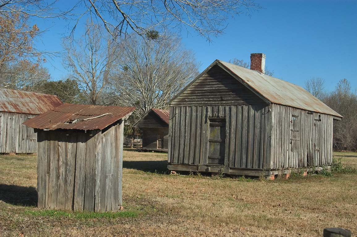 Acadian-style cabin and a privy in Laurel Valley. Thibodaux, Louisiana