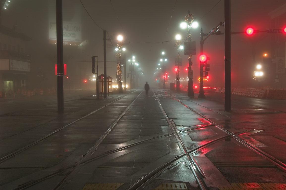 Canal St. near Rampart St. in fog. New Orleans, Louisiana