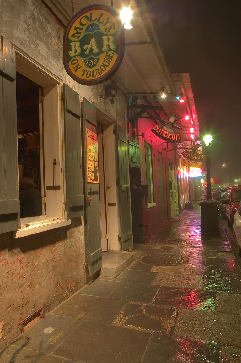 Molly's Bar on Toulouse and Dungeon Cafe in French Quarter. New Orleans, Louisiana