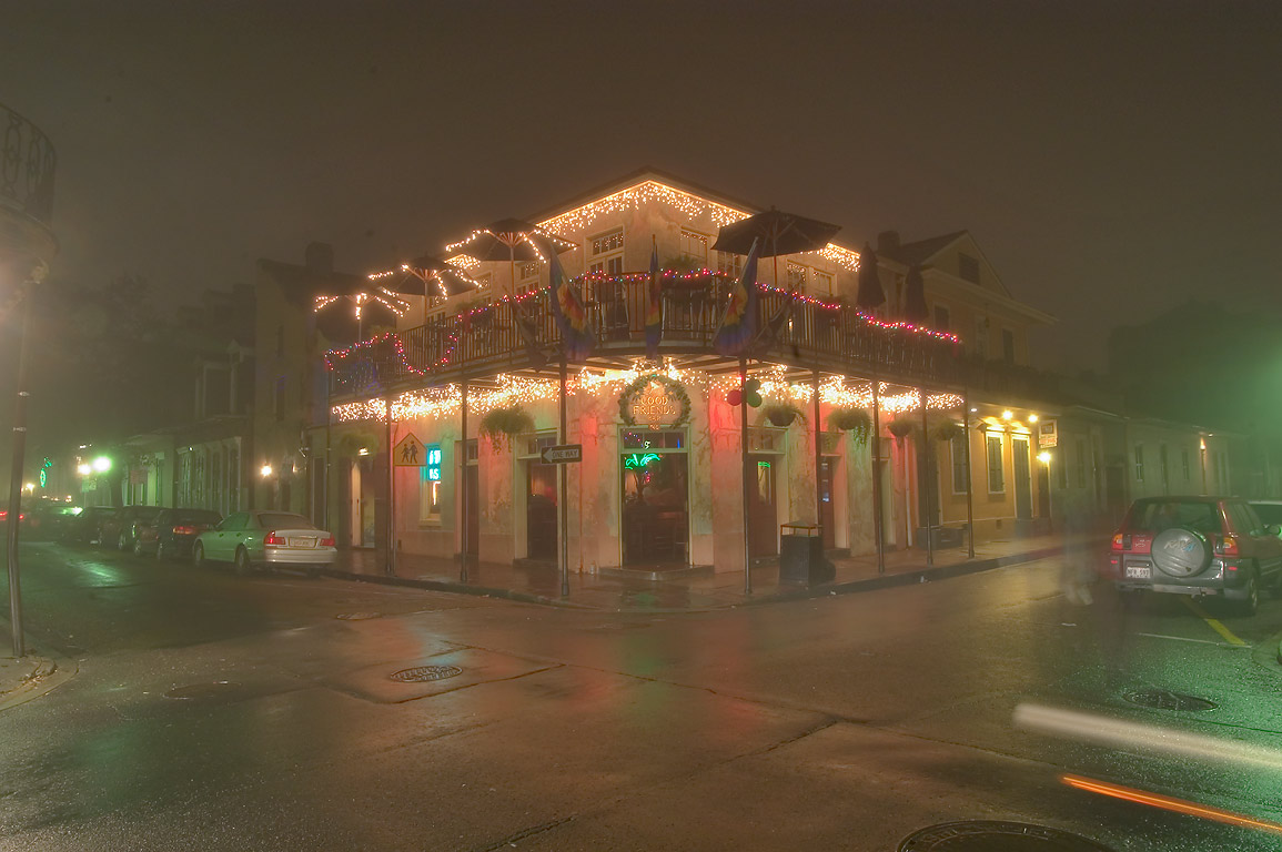 Good Friends Bar (gay) at a corner of Dauphine...Quarter in fog. New Orleans, Louisiana
