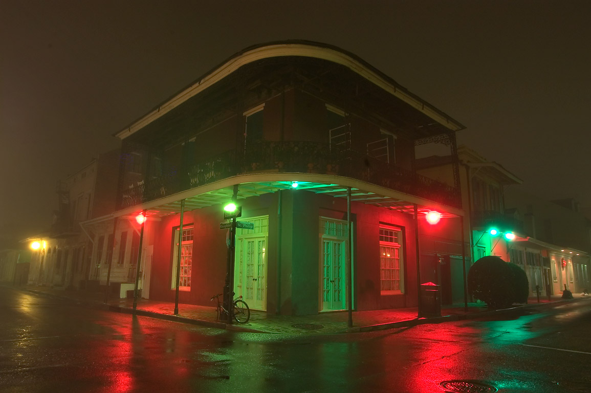 A corner of Dauphine and St.Philip streets in...Quarter in fog. New Orleans, Louisiana