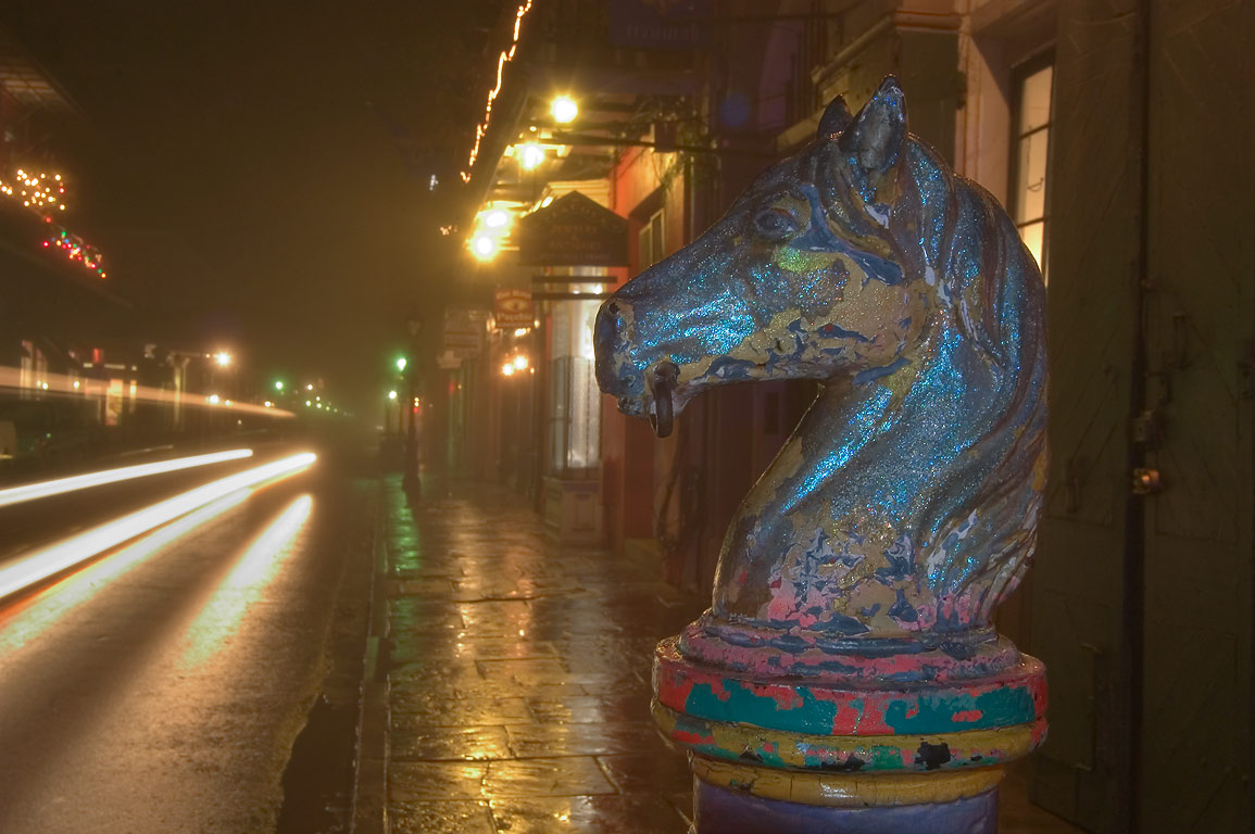 A horse hitch on Royal St. near St. Peter St. in...Quarter in fog. New Orleans, Louisiana