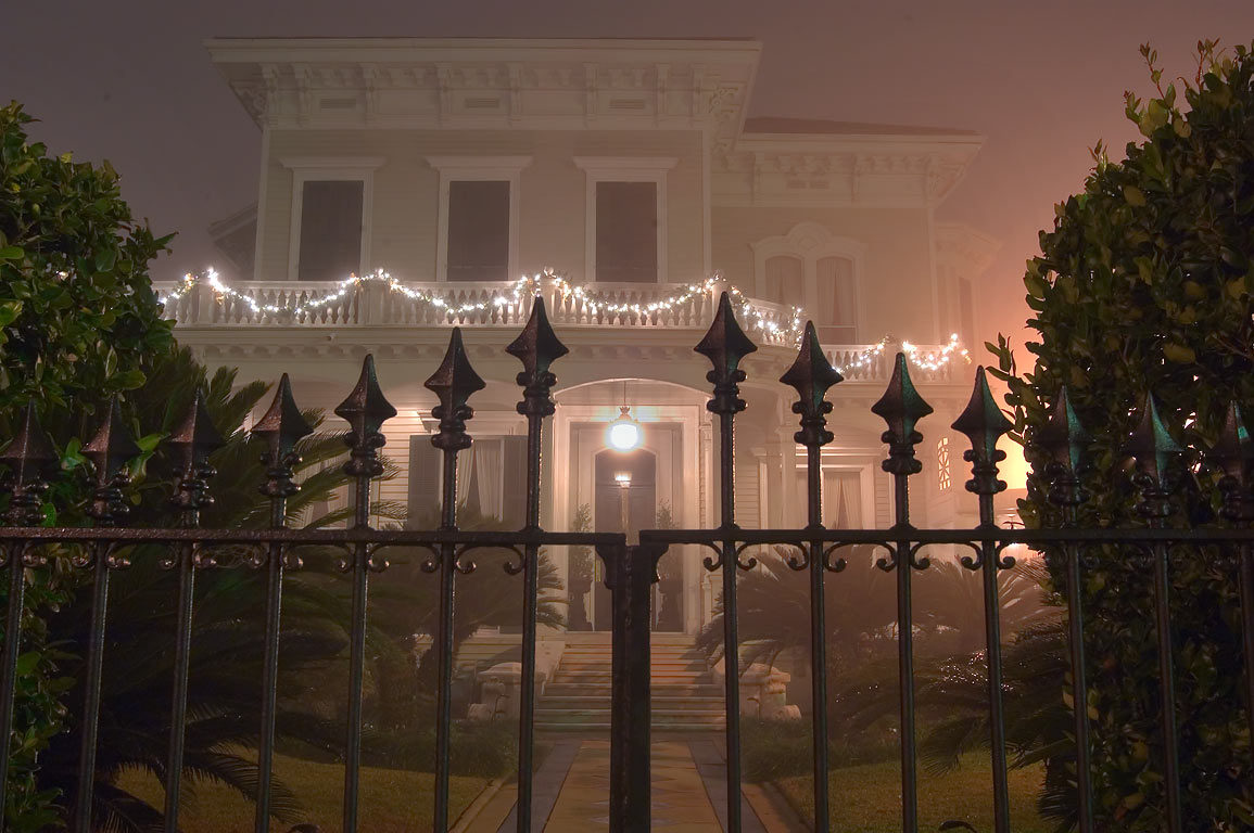 A mansion on Jackson Ave. near Chestnut St. in...in fog. New Orleans, Louisiana