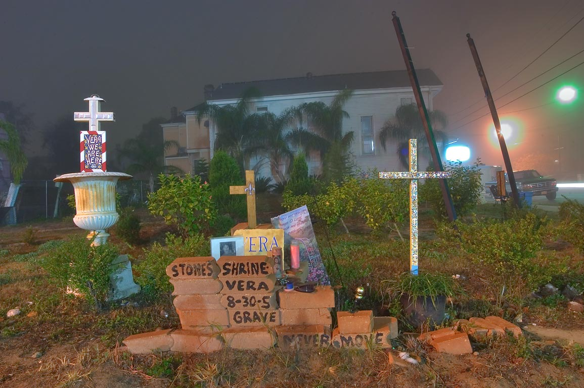 "A decorated brick memorial ""Vera's Shrine...in fog. New Orleans, Louisiana"