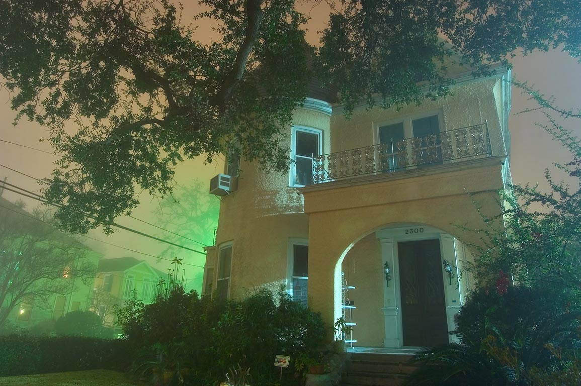 A house at 2300 Prytania St. in Garden District in fog. New Orleans, Louisiana