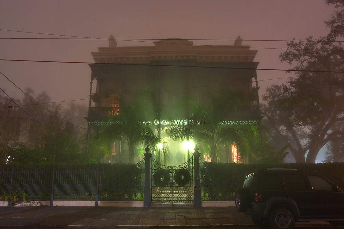 Carroll-Crawford House at 1315 First St. in Garden District in fog. New Orleans, Louisiana
