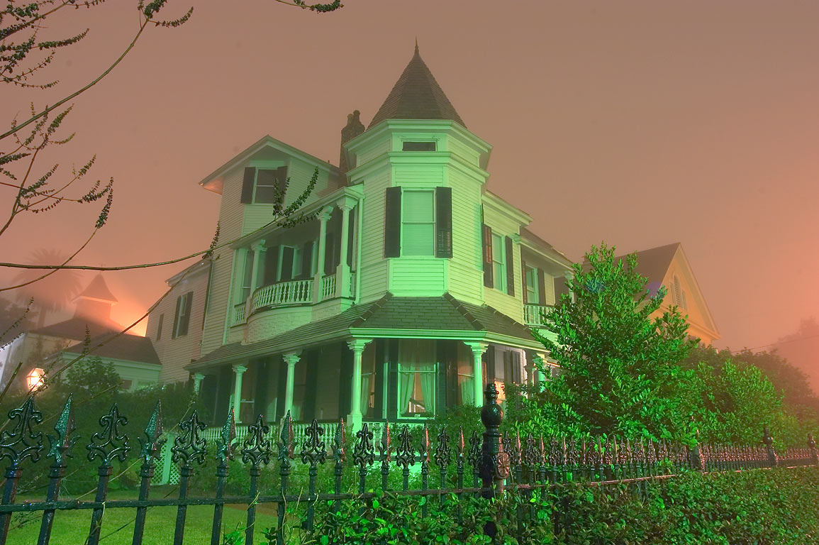 Williams-Ordemann House (1860s) at 1320 Second St...in fog. New Orleans, Louisiana