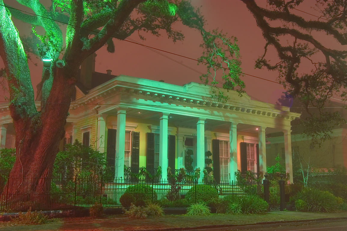 Adams-Jones House (1860-1861) at 2423 Prytania St...in fog. New Orleans, Louisiana