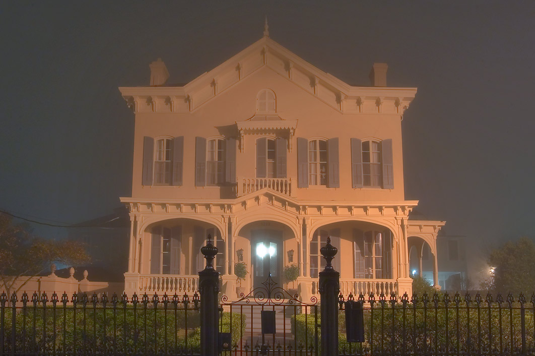 Montgomery-Hero House (1868) at 1213 Third St. in...in fog. New Orleans, Louisiana