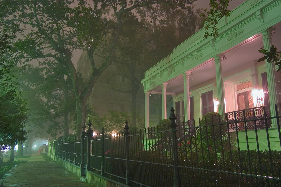 Claiborne Cottage (Dameron House) at 2524 St...in fog. New Orleans, Louisiana