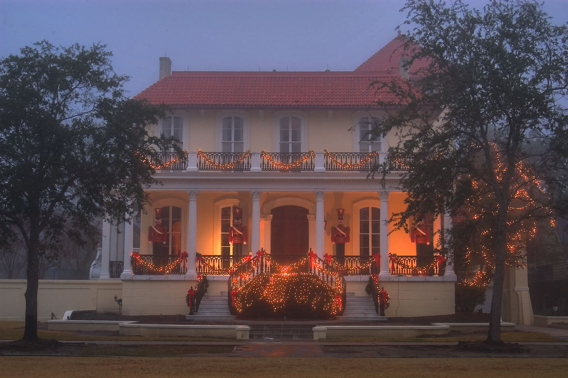McGuirk-Geoghagen-Roy-Conwill IV House (1912) at...St. in fog. New Orleans, Louisiana