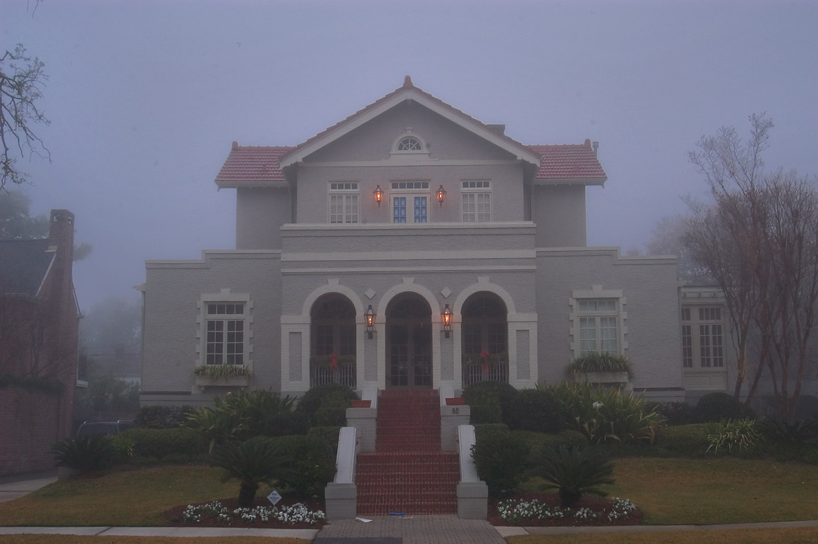 A house at 80 Audubon Blvd. in Audubon neighborhood in fog. New Orleans, Louisiana