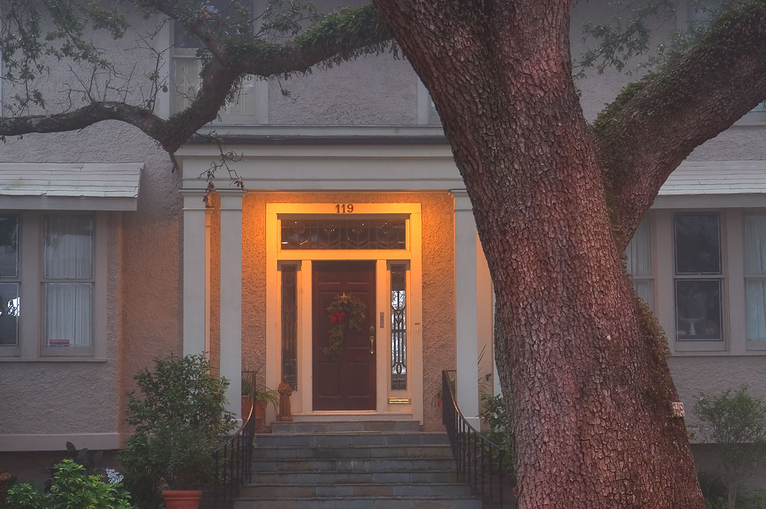 A porch of Hermann Gessner house (1914) at 119...in fog. New Orleans, Louisiana