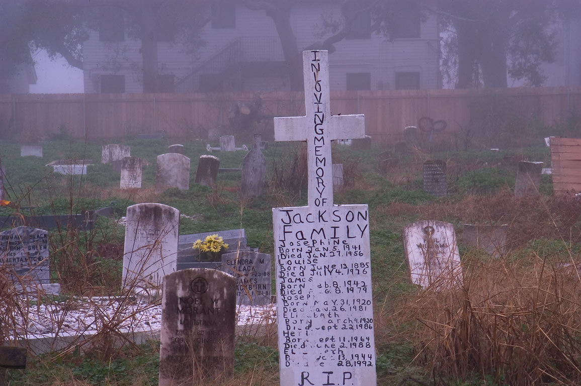 Primitive tombs in Holt Cemetery in fog. New Orleans, Louisiana