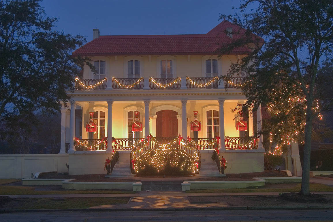 McGuirk-Geoghagen-Roy-Conwill IV House (1912) at...for Christmas. New Orleans, Louisiana