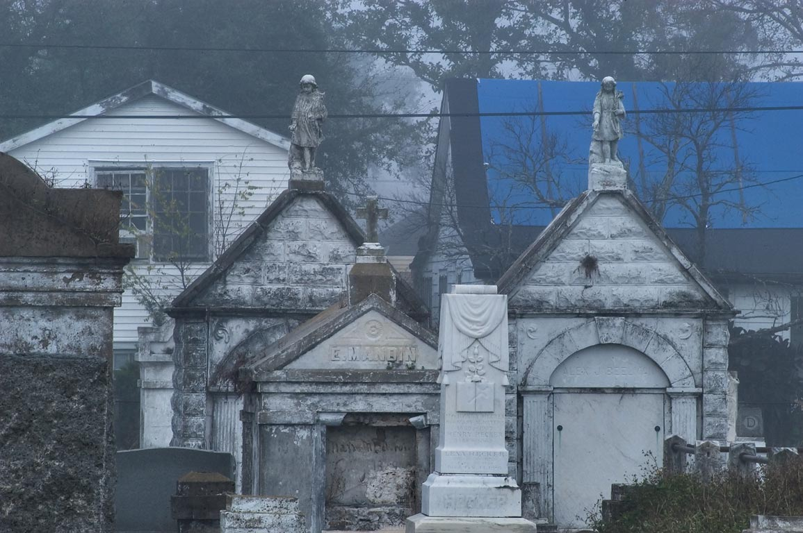Tombs of Carrollton Cemetery at morning. New Orleans, Louisiana