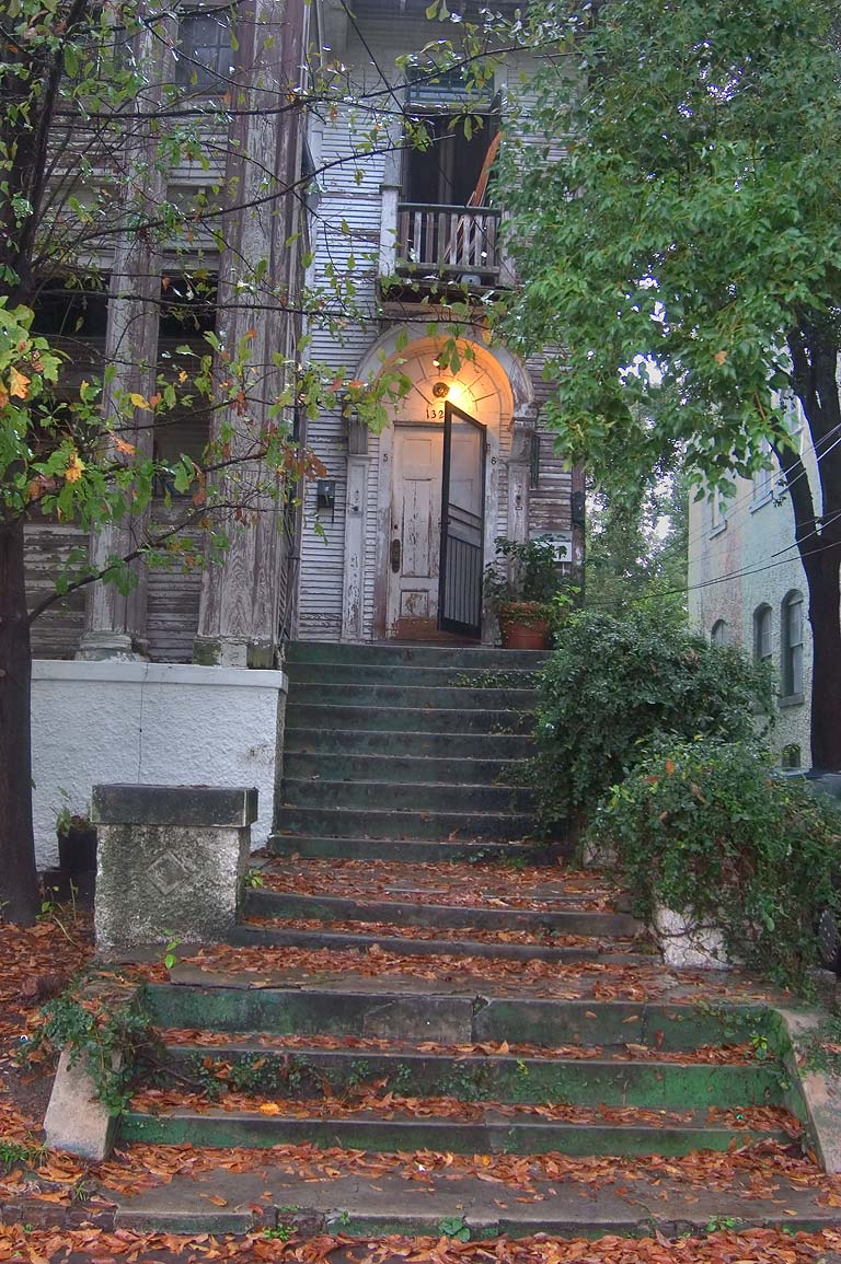 A porch of a house at 1320 St.Andrew St. in Lower...at rain. New Orleans, Louisiana