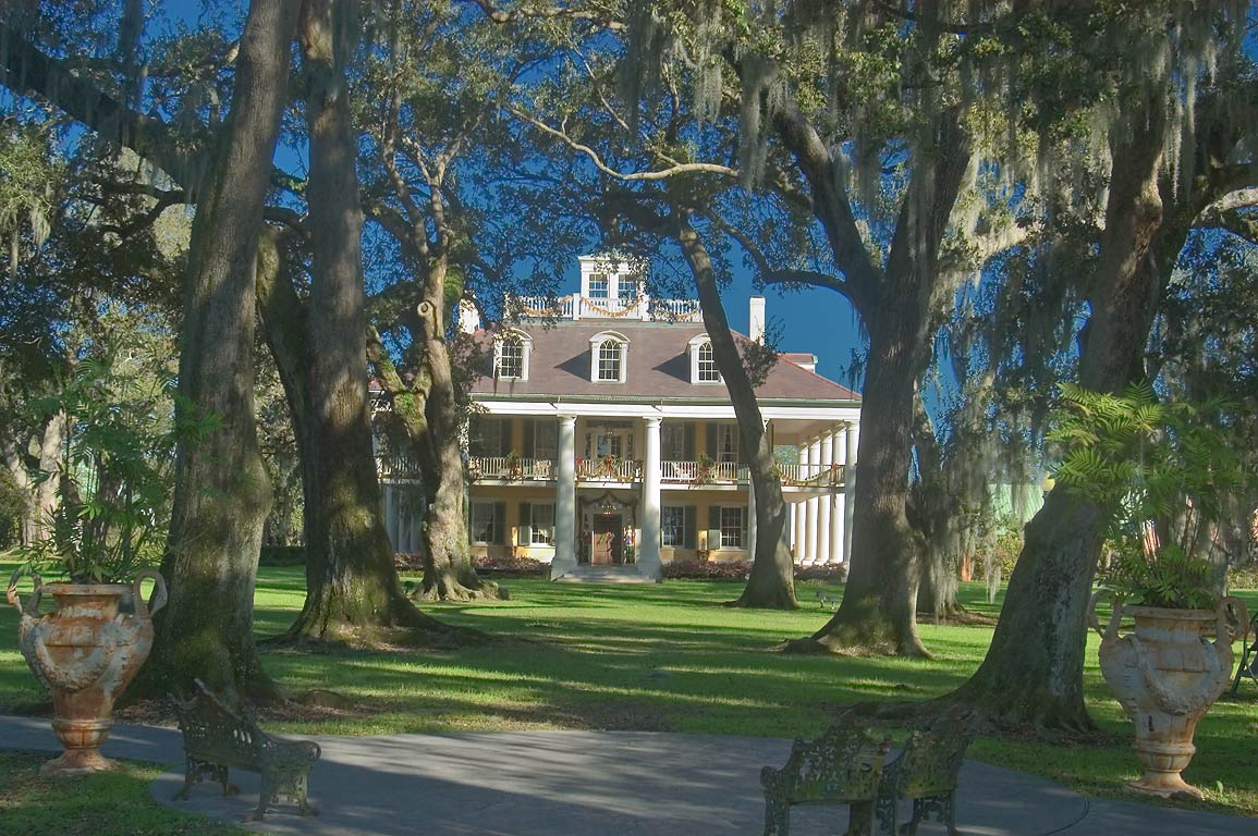Houma Plantation, view from River Rd.. Darrow, Louisiana