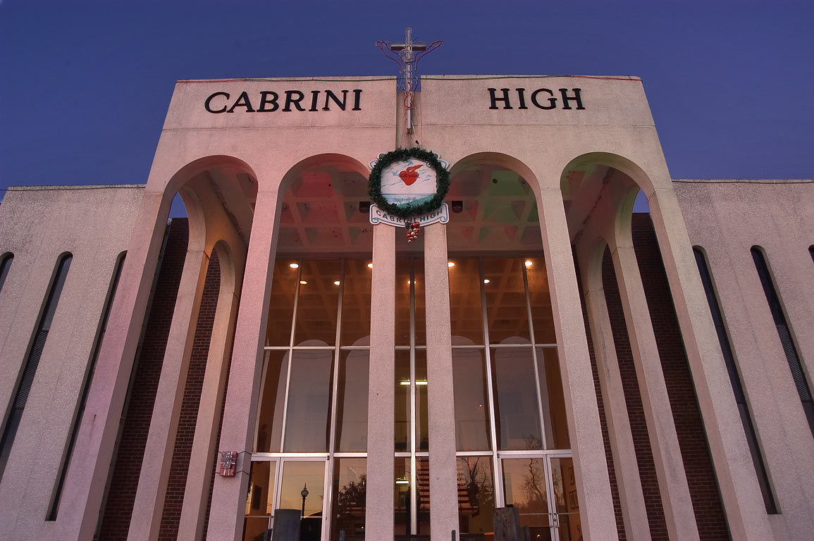 Cabrini High School on East Moss St. in Bayou St.John neighborhood. New Orleans, Louisiana