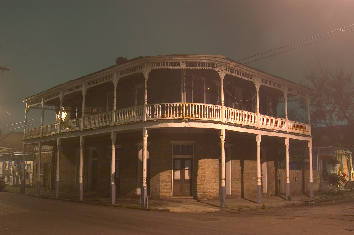 A corner of Marigny and Royal streets in Faubourg...at evening. New Orleans, Louisiana