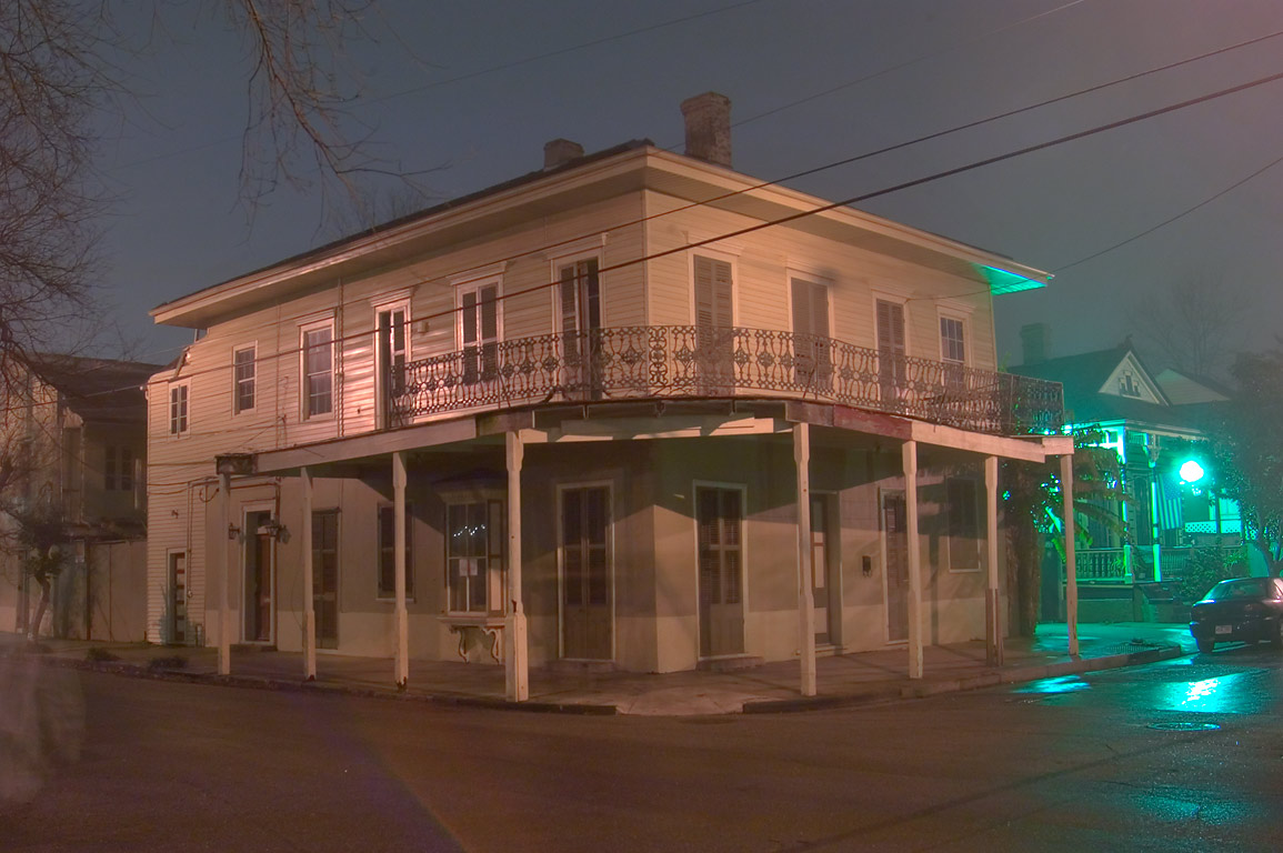 A corner store-house of John Cordes (1882) at...at evening. New Orleans, Louisiana