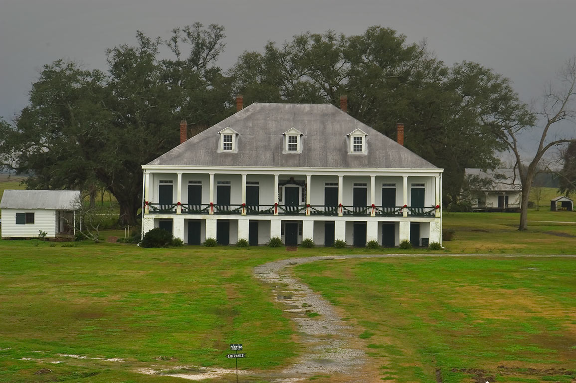 St.Joseph plantation, view from a levee across River Rd.. Vacherie, Louisiana