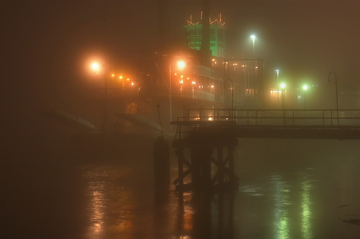 Natchez Steamboat at morning in fog. New Orleans, Louisiana