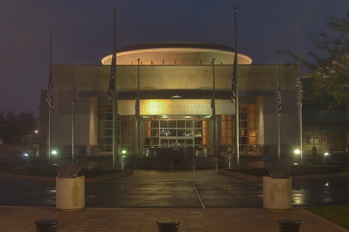 George Bush Presidential Library at evening. College Station, Texas
