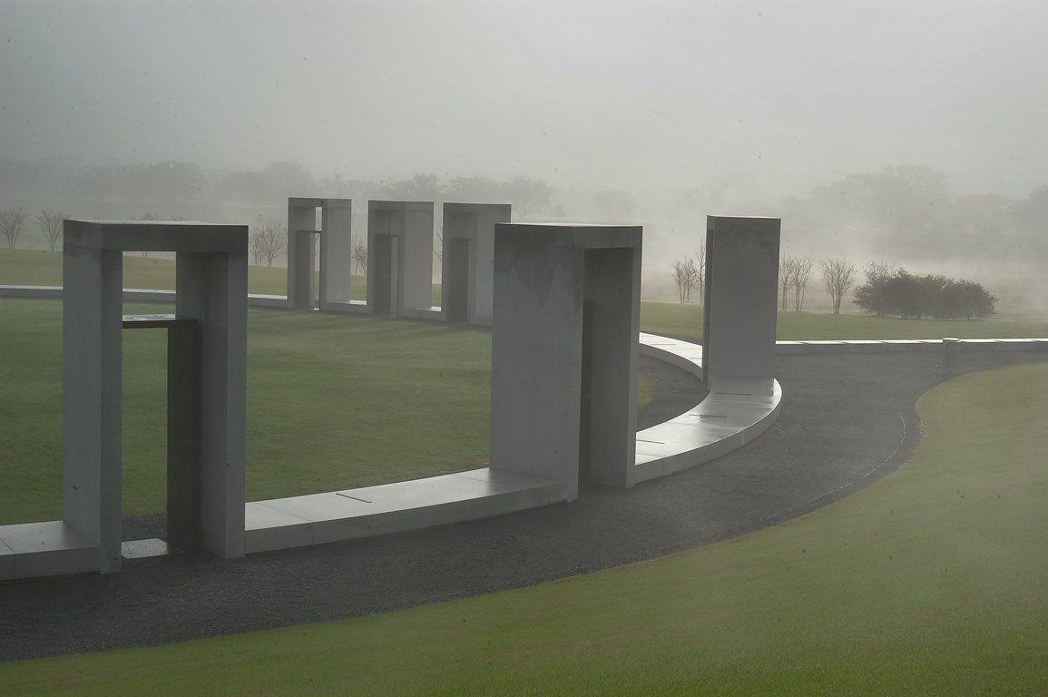 Bonfire Memorial on campus of Texas A&M...in mist. College Station, Texas
