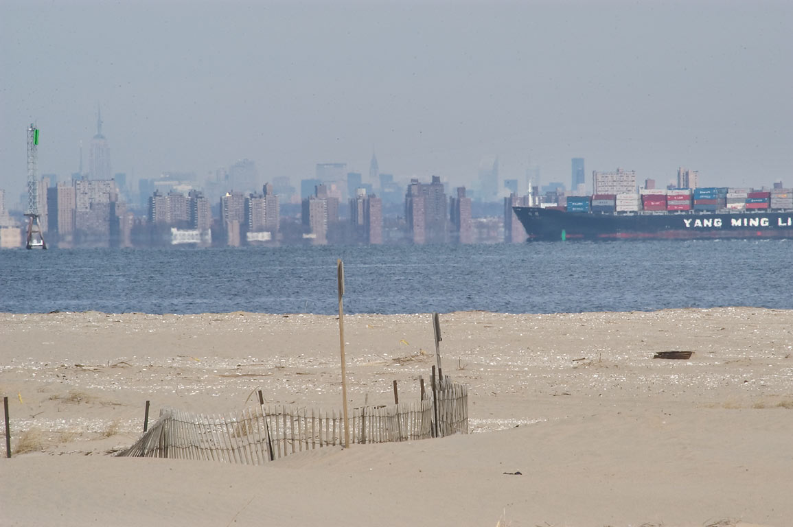 View of Brooklyn NY from a trail north from parking area M. Sandy Hook, New Jersey