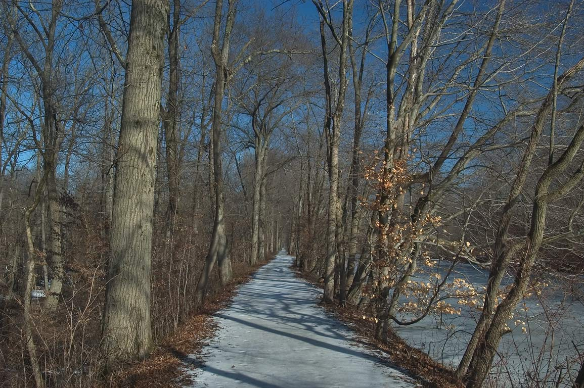 Snowy trail in Delaware and Raritan Canal State Park. Kingston, New Jersey
