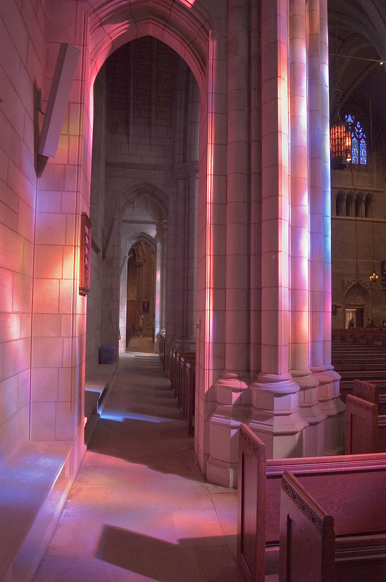 Multi-colored sun beams in University Chapel of...University. Princeton, New Jersey