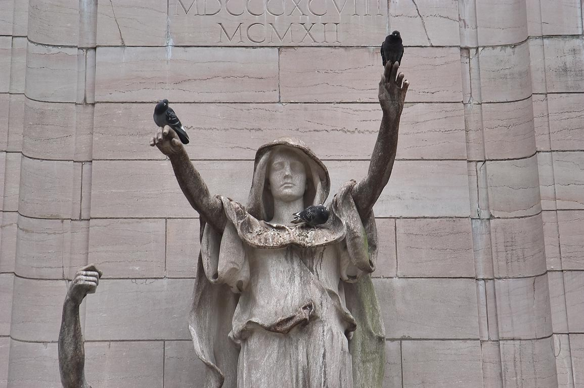 A statue at Columbus Circle at south-west gate of Central Park. New York City
